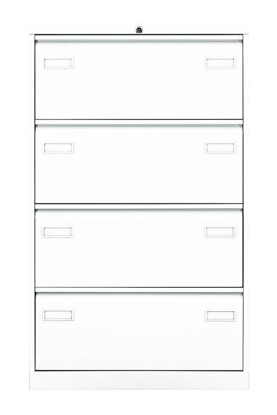 Hängeregistraturschrank Light mit Griffleiste, doppelbahnig, 4 HR-Schubladen, DIN A4,