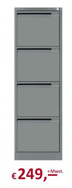 Bisley - Hängeregistraturschrank mit Griffleiste - 4 HR-Schubladen - DIN A4 - stahlsilber