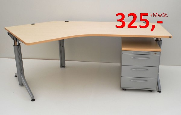 Freiform-Schreibtisch UNO.S - 217 cm, höhenverstellbar - mit Rollcontainer - Ahorn - König + Neurath