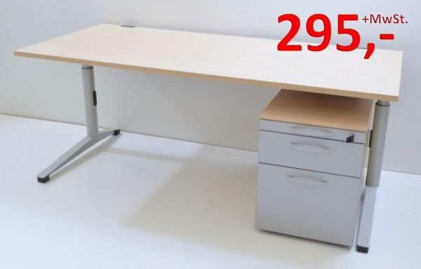 Schreibtisch - 180cm  höhenverstellbar - mit Rollcontainer - Ahorn / silber Werndl