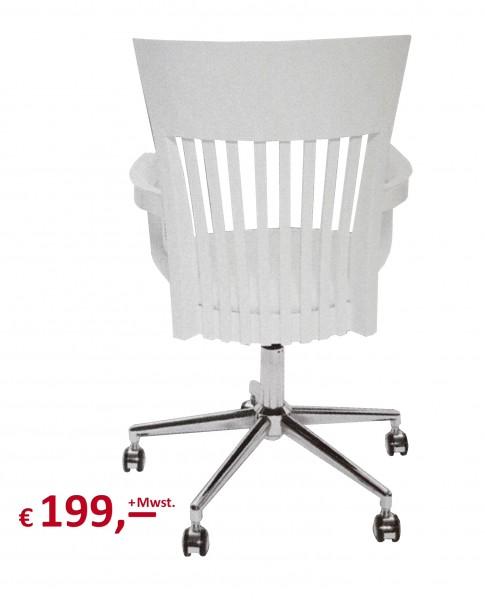 "Kare Design - Drehstuhl - ""CLASSIC WHITE"" - Gummibaum Massivholz weiss lackiert"