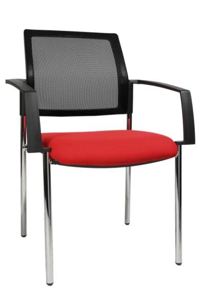 Topstar - Polster-Stapelstuhl, stapelbar, 4-Fuß, rot