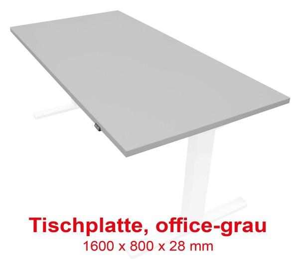 Tischplatte Office-grau - 1600 x 800 x 28 mm - passend zu den Untergestellen weiß, silber, schwarz