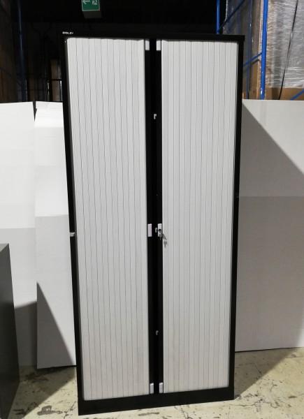 Bisley - Schrank - Metall schwarz - Rollladen weiß