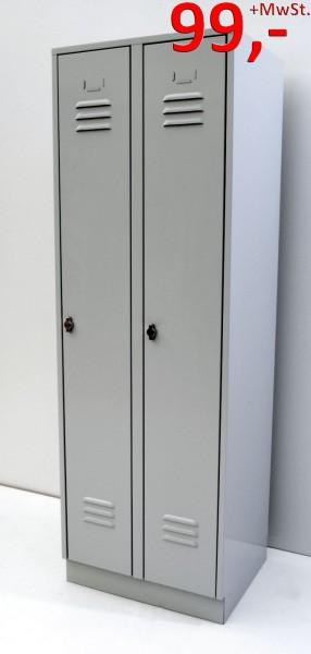 Garderobenschrank / Spind - 2 Abteile - lichtgrau - Wolf