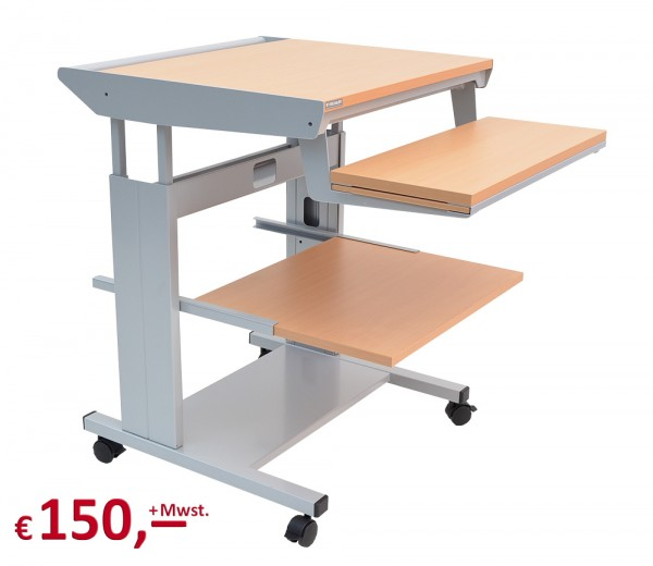 Vielhauer - PC-Tisch Junior N - fahrbar - 2 seitliche Plattenverbreiterungen - Dekor: Buche