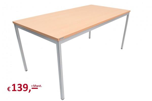 Vielhauer - Beistelltisch - 160 cm - Platte: Buche - Gestell: 4-Kant alufarbig