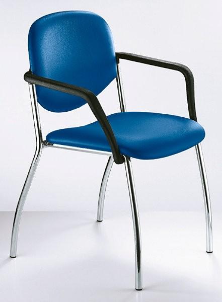 Konferenzstuhl Wendy mit Armlehnen - blau - Siqnatop