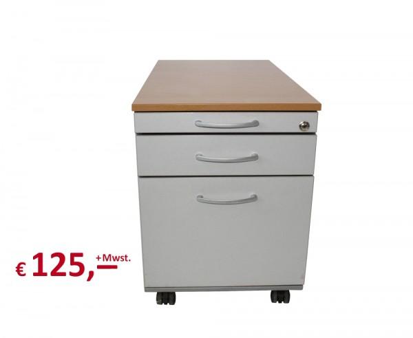 Rollcontainer - 3 Schubladen - Zentralschließung - Platin silbermetallic - Rotbuche-Dekor