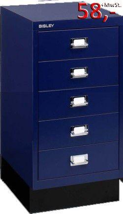 Bisley Schubladenschrank DIN A4, 5-Schubladen, mit Sockel, blau - Neuware