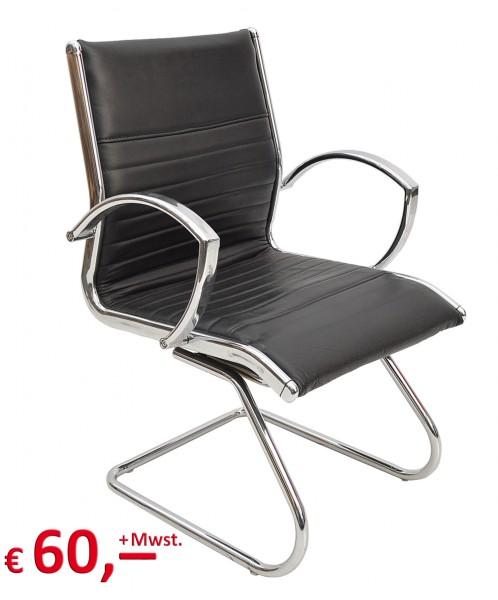 VERSEE - Besucherstuhl - Freischwinger - Leder schwarz - Gestell chrom