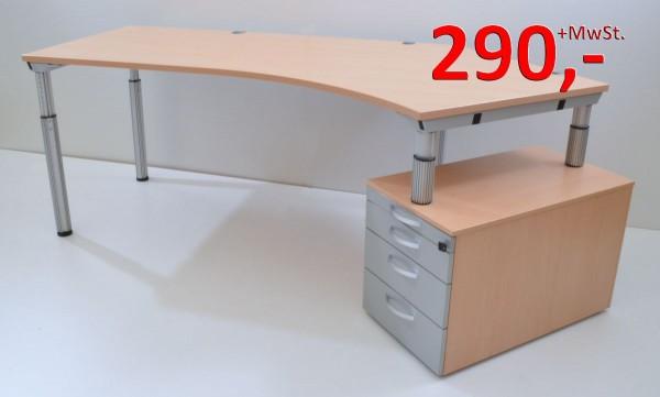 Freiform-Schreibtisch - 217 cm - höhenverstellbar, mit Standcontainer - Buche, grau - WINI