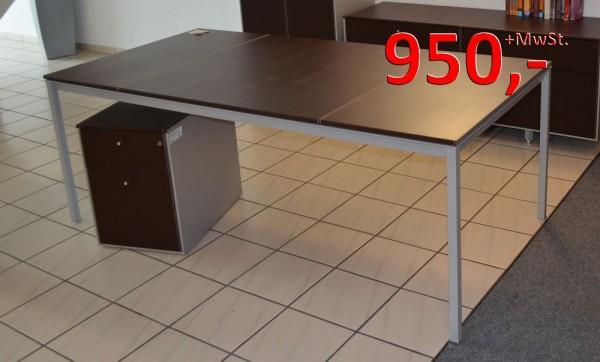 Corium Schreibtisch mit Rollcontainer - Lederbezogen - Fantoni