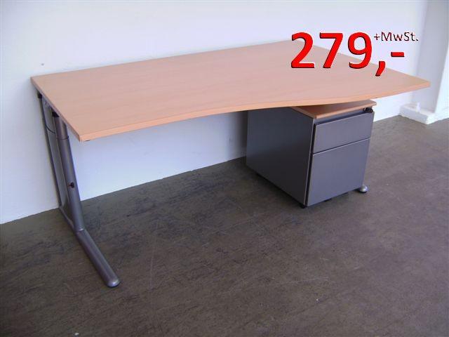 Freiform-Schreibtisch - 160 cm, höhenverstellbar - mit Rollcontainer ...