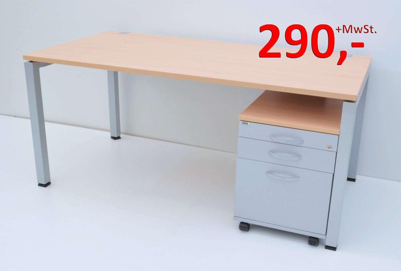 Schreibtisch - 160 cm - mit Rollcontainer - Buche, grau - CEKA ...